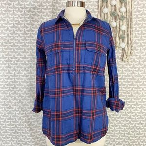 G.H. Bass Navy Red Zipper Popover Thin Flannel Top